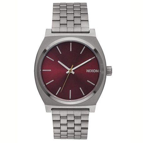 TIME TELLER WATCH GUNMETAL/DEEP BURGUNDY