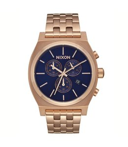 NIXON TIME TELLER CHRONO WATCH ALL ROSE GOLD/NAVY