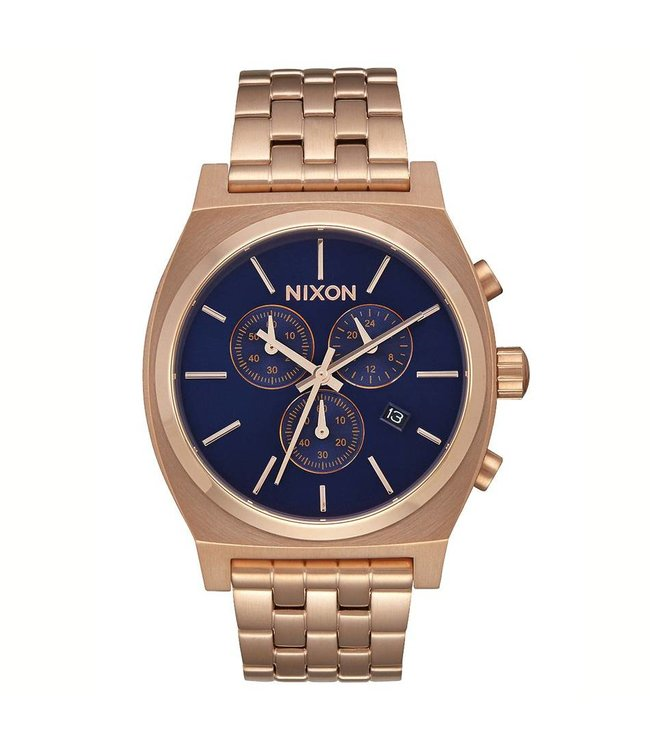 NIXON Time Teller Chrono Watch - All Rose Gold/Navy