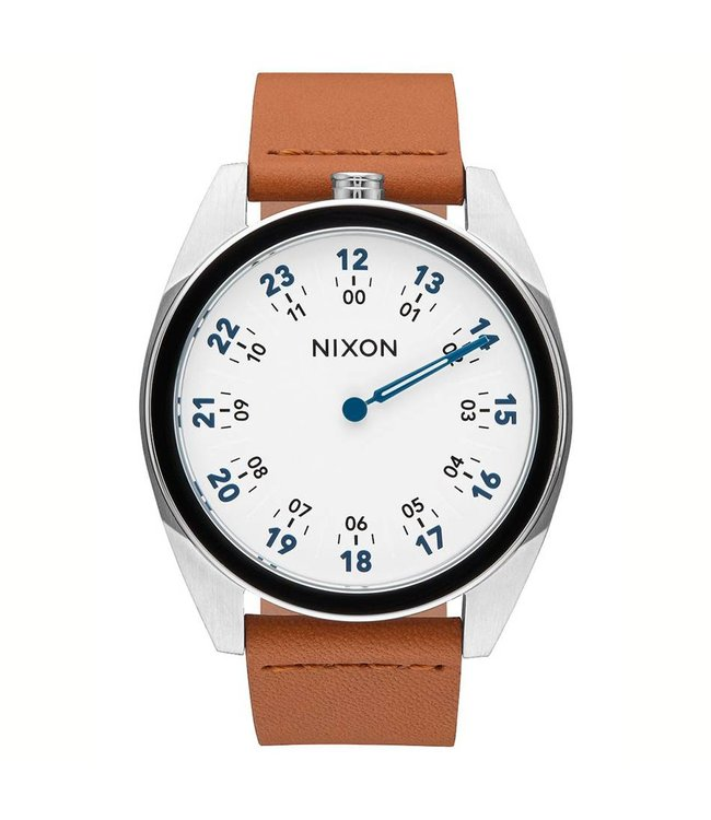NIXON Genesis Leather Watch - White/Saddle