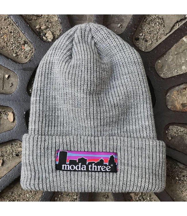 MODA3 City Logo Ribbed Beanie - Light Grey