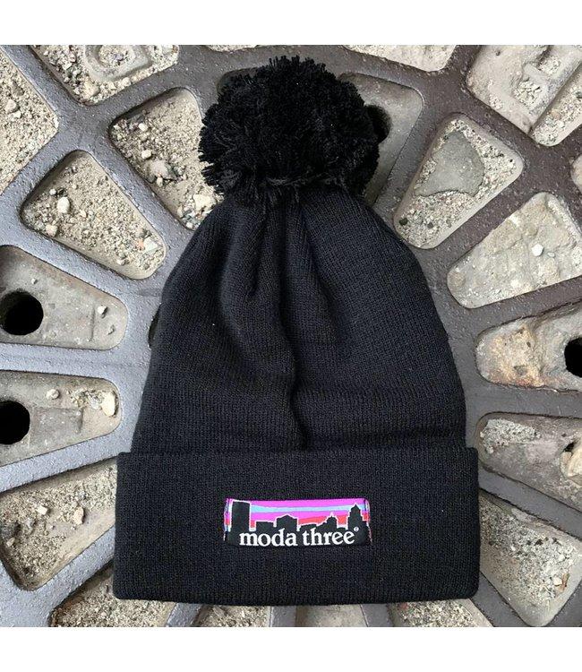 MODA3 City Logo Pom Beanie - Black