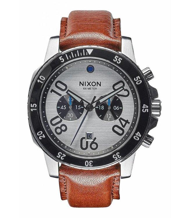 NIXON Ranger Chrono Leather Watch - Silver/Saddle