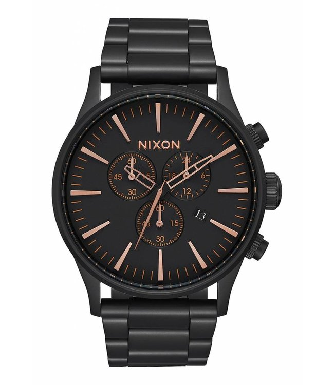 NIXON Sentry Chrono Watch - All Black/Rose Gold