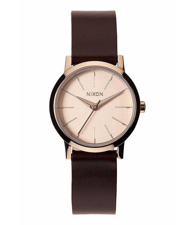 NIXON Kenzi Leather Watch - Rose Gold/Brown