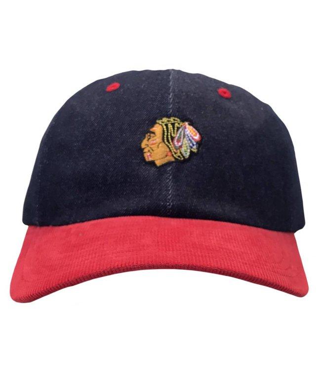 MITCHELL AND NESS Chicago Blackhawks Denim Strapback Hat