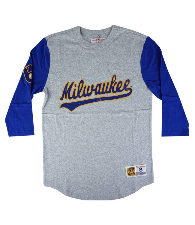MITCHELL AND NESS BREWERS SCORING POSITION 3/4 SLEEVE
