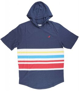 STAPLE PRIMARY STRIPE HOODED TEE