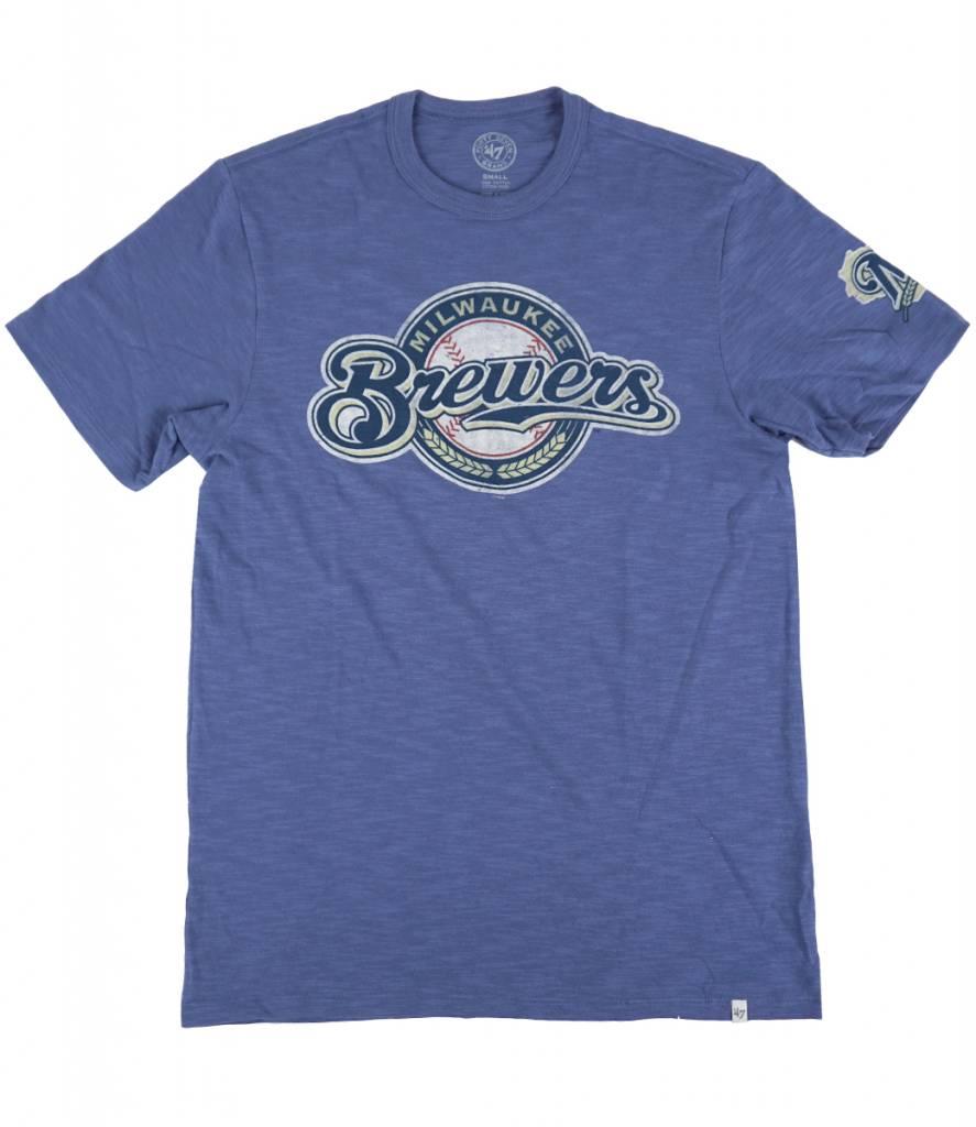 47 Brand Milwaukee Brewers Scrum Barrelman T Shirt Blue
