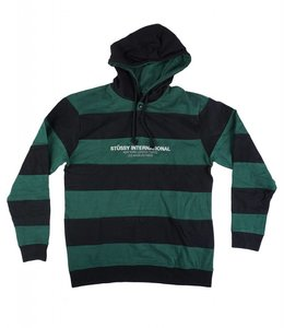 STUSSY HOODED STRIPE RUGBY PULLOVER