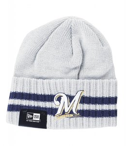NEW ERA MILWAUKEE BREWERS STRIPED BEANIE