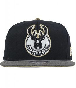 MITCHELL AND NESS BUCKS GOLD TIP SNAPBACK HAT