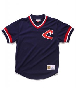 MITCHELL AND NESS CLEVELAND INDIANS MESH V-NECK