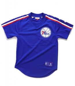MITCHELL AND NESS PHILADELPHIA 76ERS WINNING TEAM MESH V-NECK TOP