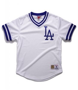 MITCHELL AND NESS LOS ANGELES DODGERS MESH V-NECK TOP