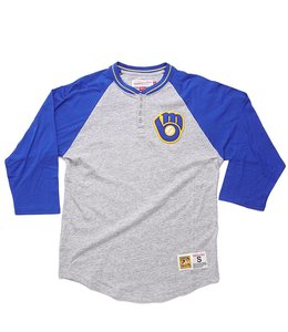 MITCHELL AND NESS BREWERS 4-BUTTON HENLEY