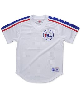 MITCHELL AND NESS WINNING TEAM PILADELPHIA 76ERS MESH V-NECK TOP