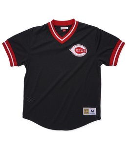 MITCHELL AND NESS CINCINNATI REDS MESH V-NECK TOP