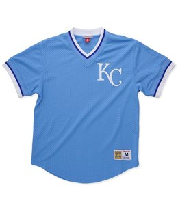MITCHELL AND NESS KANSAS CITY ROYALS MESH V-NECK TOP