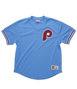 MITCHELL AND NESS PHILADELPHIA PHILLIES MESH V-NECK TOP