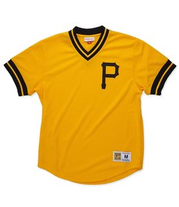 MITCHELL AND NESS PITTSBURGH PIRATES MESH V-NECK TOP