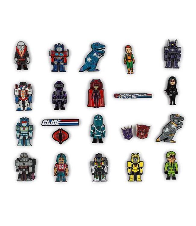 KIDROBOT Transformers vs G.I. Joe Enamel Pin Series