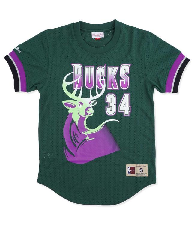MITCHELL AND NESS Bucks Ray Allen Name and Number Mesh Crew