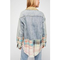 Free People Sirus Plaid Mixed Jacket