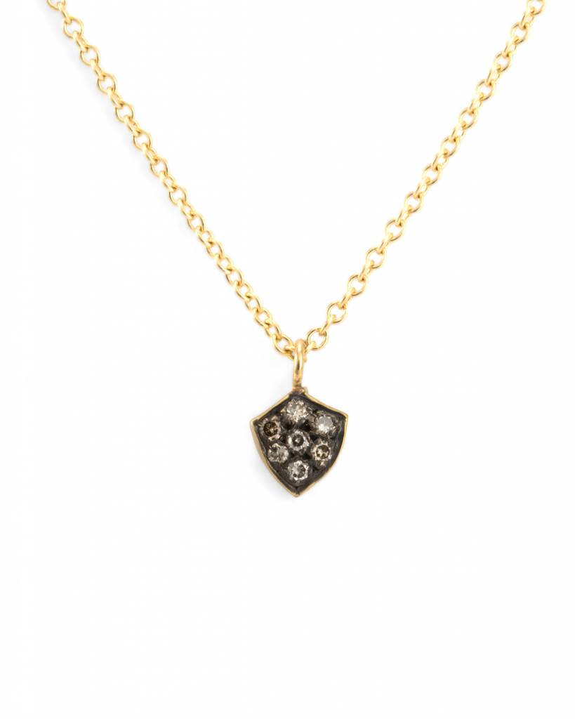 satomi kawakita jewelry diamond shield charm with champagne diamonds