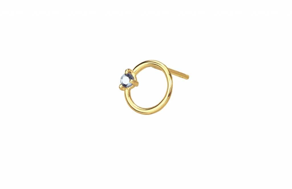 wwake small sapphire circle stud - single