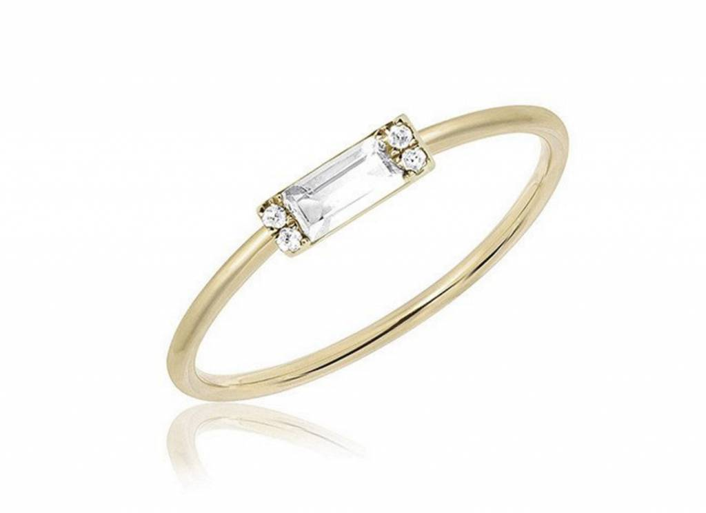 ef collection mini diamond white topaz baguette stack ring