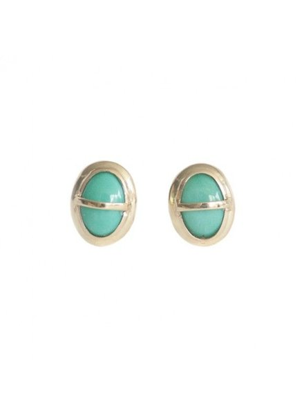 gold wrapped turquoise studs