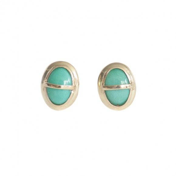 gold wrapped turquoise stud - single