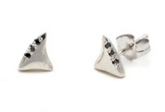 elisa solomon black diamond baby shark tooth studs
