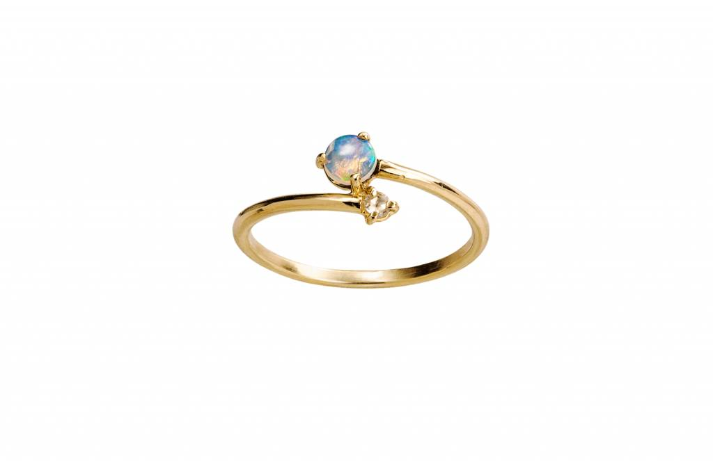 wwake opal and diamond crossover ring