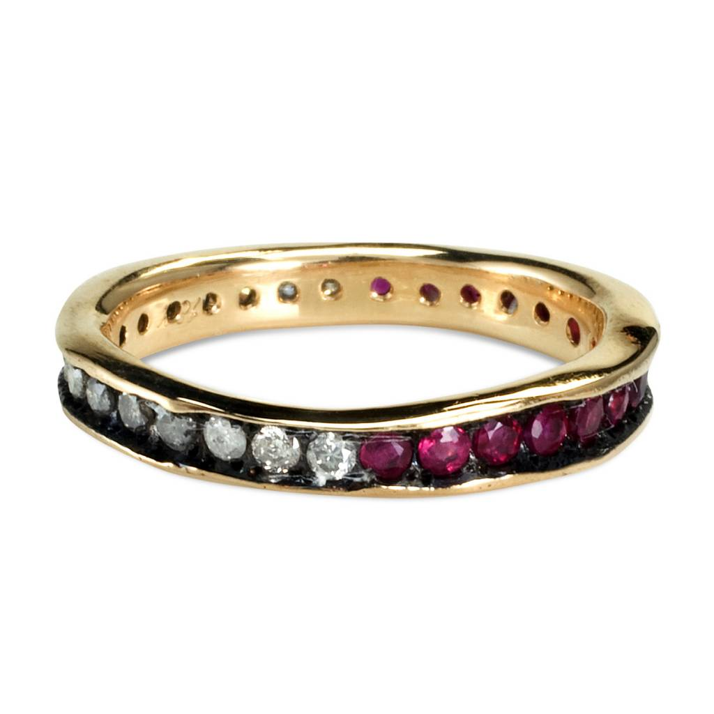satomi kawakita jewelry diamond and ruby split eternity band