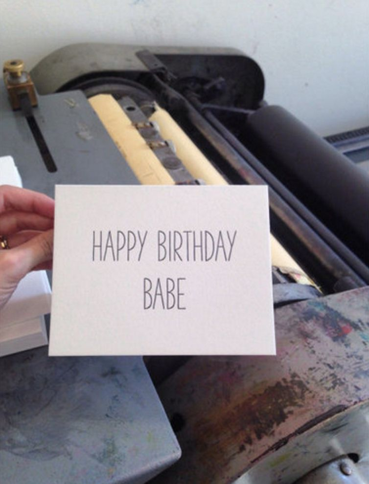 "tiny bones press ""happy birthday, babe"" card"