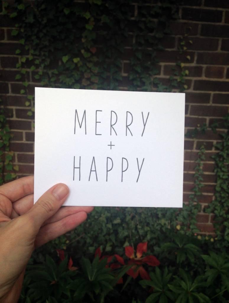 "tiny bones press ""merry + happy"" card"
