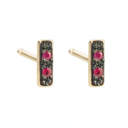 aili jewelry rhodium ruby bar stud