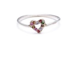 elisa solomon multicolor gem tiny open heart ring