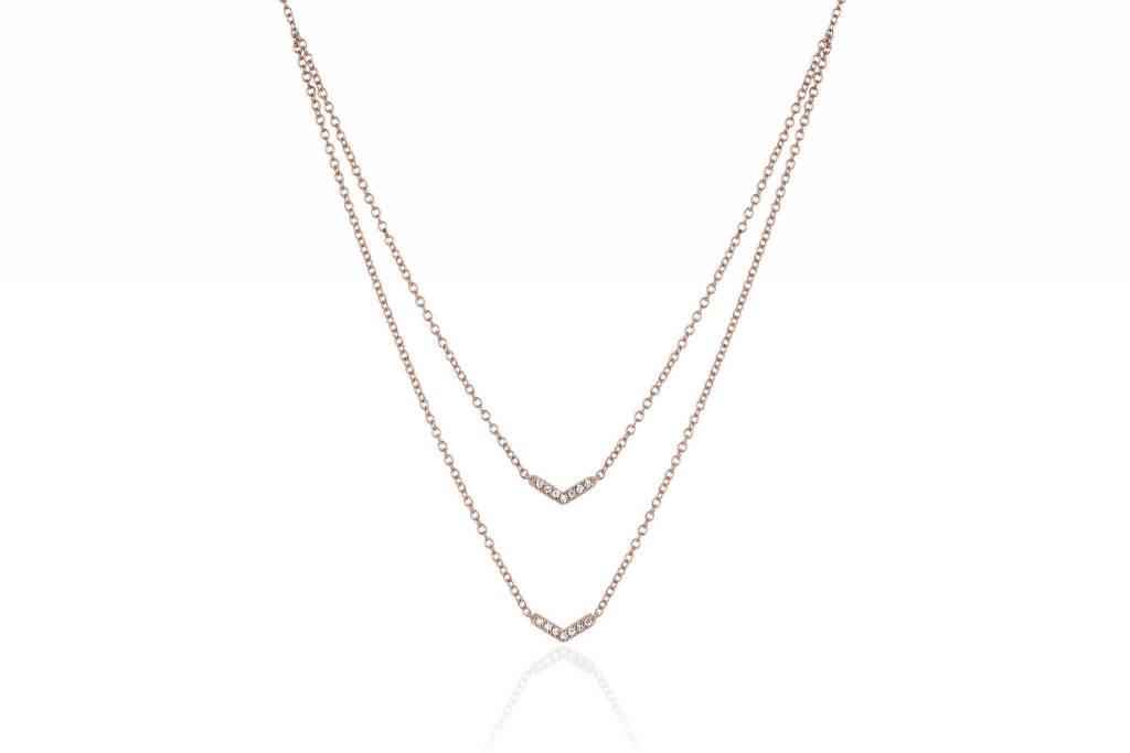 ef collection diamond double mini chevron necklace