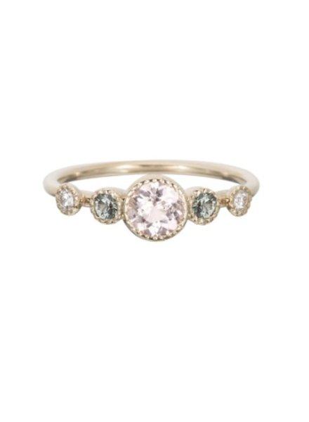jennie kwon designs morganite green sapphire diamond dew ring