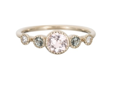 jennie kwon designs morganite green sapphire diamond dew ring