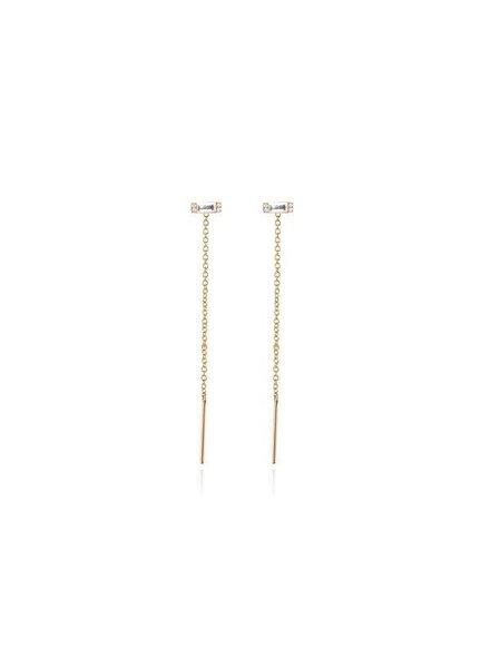 ef collection diamond white topaz baguette threader earring