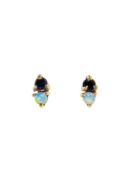 wwake two step earrings with opal and black diamond