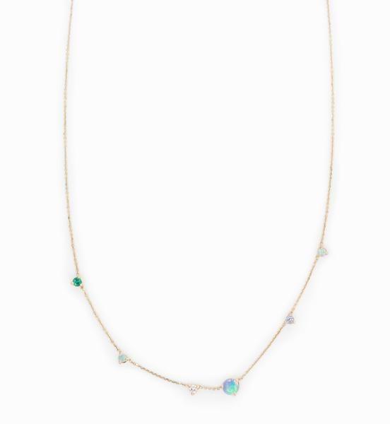 wwake opal linear chain necklace