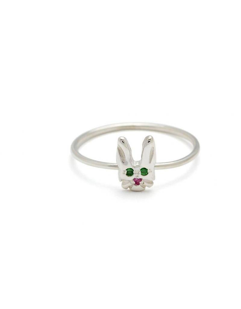 elisa solomon sterling silver bunny face ring