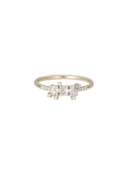 jennie kwon designs rose cut white sapphire cluster equilibrium ring