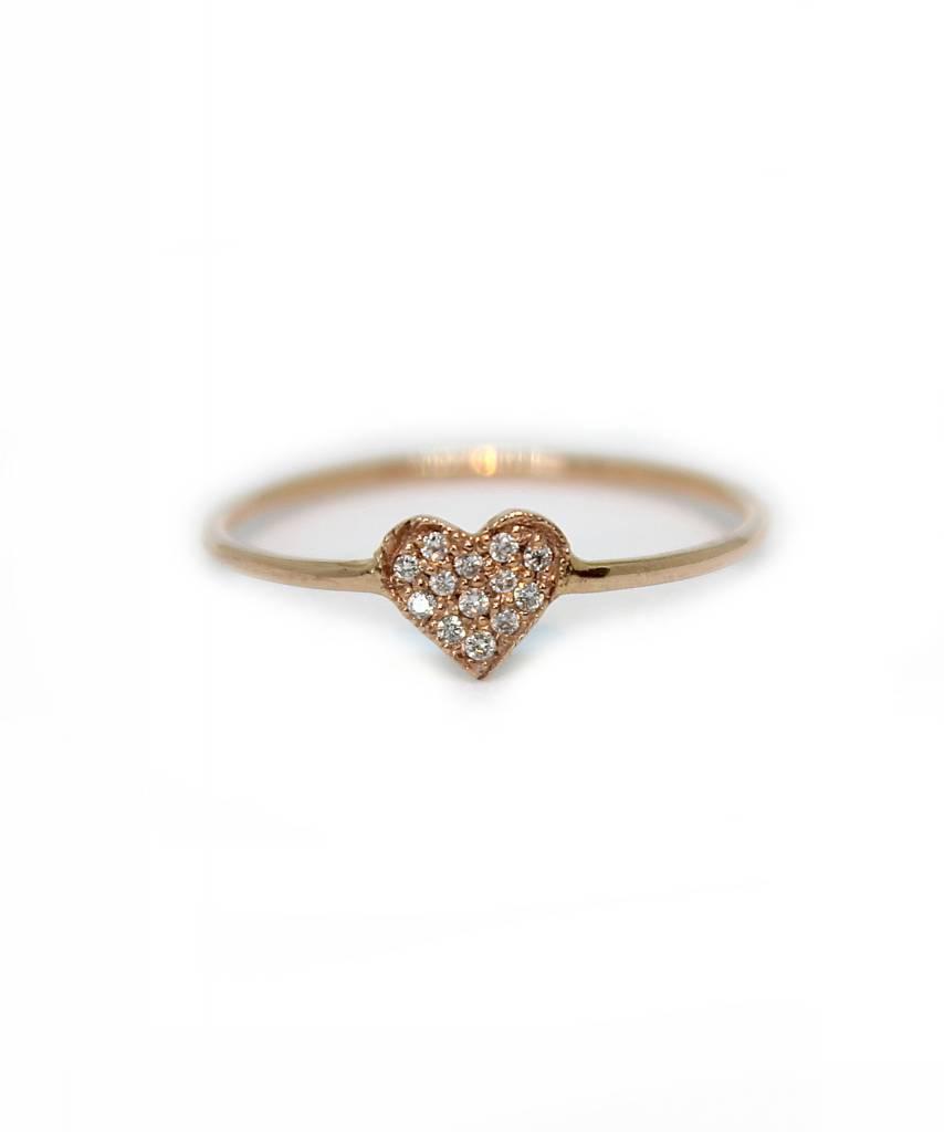 ariel gordon mini  heart shape ring with pavè diamonds