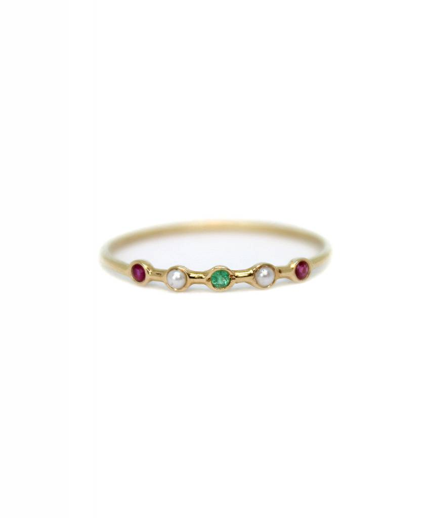 ariel gordon horizon ring with ruby, pearl, emerald, pearl